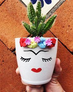 Potted Plants, Plant Pots, Flower Pots, Planters, Decorated Flower Pots, Frida Kahlo, Cute Stuff, Pot Plants, Garden Planters