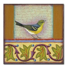 """Trademark Art 'Small Bird 241' by Rachel Paxton Painting Print on Wrapped Canvas Size: 18"""" H x 18"""" W x 2"""" D"""