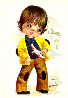 Vintage 70s Postcard of a little Big Eyed boy with his Toy Plane, via Flickr.