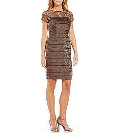 085b644b44c London Times Illusion Lace Layered Shimmer Dress  Dillards Formal Dresses