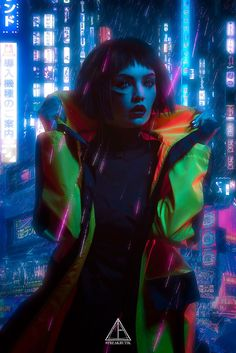 Cyberpunk female in dark clothes yellow plastic coat short dark haired female android robotic cyborg woman in futuristic cyberpunk fashion costume Moda Cyberpunk, Arte Cyberpunk, Cyberpunk City, Cyberpunk 2077, Cyberpunk Aesthetic, Cyberpunk Fashion, Cyberpunk Tattoo, Cyberpunk Clothes, Fantasy Girl