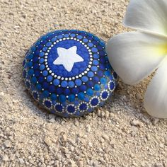 Star, Shades of Blue Dot Painted Stone, Original Hand Painted Rock Art, Mandala Stone, Nature Art