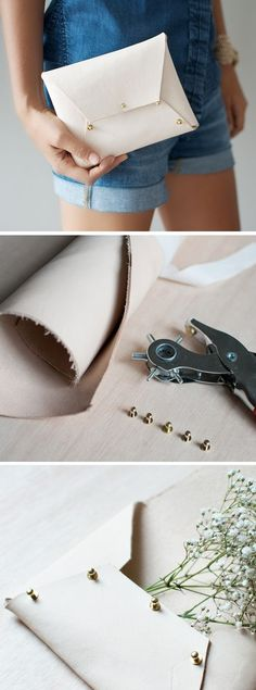 DIY Leather Clutch - could be adapted for pleather or oilcloth with binding on the edges, maybe?