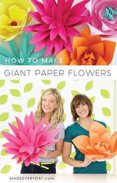 Colour Paper Flowers How to make Giant Paper Flowers video tutorial on MADE Everyday with Dana Willard. So much fun to do as a girl's night craft. Decorate for a wedding, a shower, a girl's room, just for fun!large paper FLOWERS/ to Tissue paper flow Large Paper Flowers, Giant Paper Flowers, Diy Flowers, Fabric Flowers, Wedding Flowers, Tissue Flowers, How To Make Paper Flowers, Girls Night Crafts, Crafts For Girls