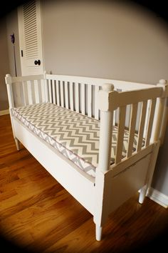 old crib into bench! Great way to reuse your crib after baby has outgrown it.
