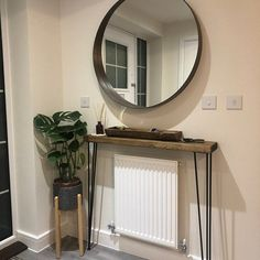 Narrow console table with hairpin legs wooden rustic hallway Rustic Hallway Table, Rustic Console Tables, Narrow Console Table, Entryway Wall Decor, Small Hallway Table, Narrow Entryway, Entrance Decor, Entrance Hall, The Hundreds
