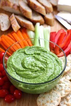 Spinach Feta Hummus. A garlicy, tangy hummus using fresh spinach, salty feta and chickpeas.