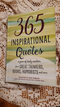 365 INSPIRATIONAL QUOTES  I like to add inspirational quotes when I'm sending letters or cards so when I saw this book, I thought it would be perfect. The book measures about 5″ by 7″ and 1″ thick so it's a great size to carry with you when traveling. It's a paperback book but the …