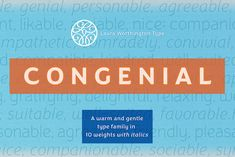 Congenial Italic Family Sans Serif Font by Laura Worthington on Creative Market. Digital design goods for personal or commercial projects. Graphic design elements and resources.