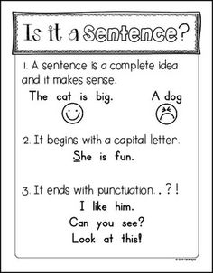 This is a FREE mini anchor chart to help you teach your students the most simple guidelines for what makes a sentence. This is made for young students, so it just covers the basics for a complete sentence. It is also the perfect compliment to my Kindergarten Anchor Charts, Kindergarten Writing, Teaching Writing, Student Teaching, Writing Activities, Teaching Phonics, Kindergarten Activities, Teaching Ideas, Literacy