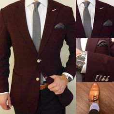 Burgundy sportscoat paired with charcoal gray accessories.