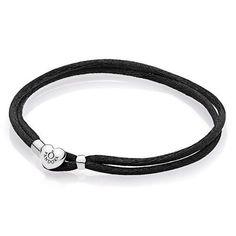 a7e6d76be Pandora 925 590749cbk-S3 Black Fabric Cord bracelet 19.5cm 7.7