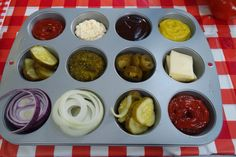 BBQ Hack: serve condiments in a muffin pan http://bit.ly/1cYz8uH. #bbq #summer