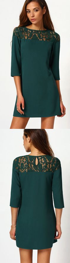 Dark green dress with lace. Click & sign up at romwe.com. Get 60% off 1st order!