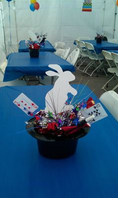 Magic Party Centerpieces - idea for blue and gold banquet