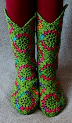 March 29th Nice for staying indoors on a rainy sunday  granny square boots