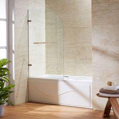 vigo orion clear curved bathtub door in stainless steel