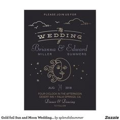 Gold foil Sun and Moon Wedding Invitation, wedding collection, live by the sun - love by the moon
