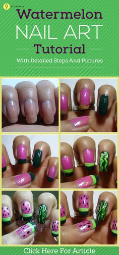 Who doesn't like watermelons? Almost everyone does right? Whether it is the season for melons or not, you can sport this nail art for a girl's day out to shopping matched with those bright pink outfits that you have in your closet.