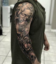 Pin by máca novotný on art tatuagem masculina, tatuagem, tat Angel Tattoo Designs, Tattoo Sleeve Designs, Tattoo Designs Men, Juncha Tattoo, Mary Tattoo, Religious Tattoos For Men, Religious Tattoo Sleeves, Sleeve Tattoos For Women, Tattoos For Guys