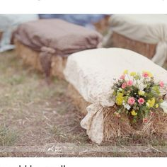 Hay seating.....so country cute. I want to do this for a wedding reception