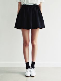 long socks, oxfords, A-line skirt, and big white shirt. i will wear this for sure.