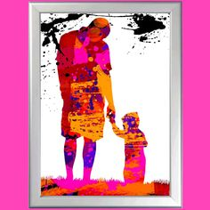 Splatter Art Print Dad and Son celebrating Perfect Gift in many sizes A5 TO MAXI
