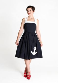 Items similar to Handmade Sailor Dress, Navy & White Cotton xs,s,m,l on Etsy Summer Dress Patterns, Summer Dresses, Anchor Dress, Rockabilly Fashion, Rockabilly Clothing, Sailor Dress, Nautical Fashion, Navy Dress, Dress Me Up