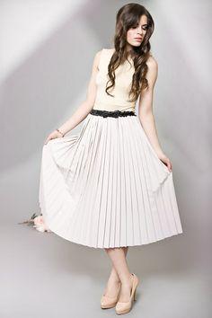 spódnice-Plisowana spódnica z kaszmiru