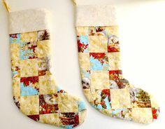 Christmas quilted stocking handmade lined gold and by StephsQuilts