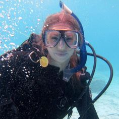 This is me during a safety stop diving in Belize!