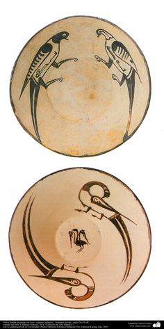Platos hondos decorados de aves – cerámica islámica – Nishapur de Irán - siglos X y XI dC.