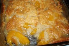 PEACH COBBLER: mix together~ 1 CUP SUGAR, 1 CUP FLOUR, 1 TSP BAKING POWDER -   ½ CUP MILK~ IN 8 x 8 PAN MELT ONE-HALF STICK BUTTER~ POUR ¾ OF ABOVE BATTER OVER BUTTER ADD PEACHES (WITH A LITTLE JUICE FROM CAN )  SPRINKLE THE REST OF THE BATTER ON TOP~ SPRINKLE WITH CINNAMON AND SUGAR~ 350 ONE HOUR