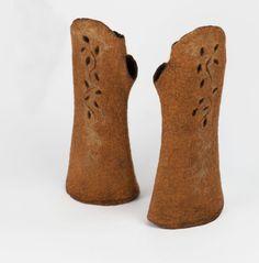 1920s Felt fingerless gloves, Art Deco mittens, Merino long fingerless gloves,  A felted wearable art by BuriFelt on Etsy