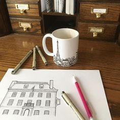 In progress drawing of @frauncestavern for Mike and Alana, who are using our NYC table number collection for their Central Park boathouse wedding and adding a few custom table cards of their favorite date spots in NYC. This Tavern is not only a cute date