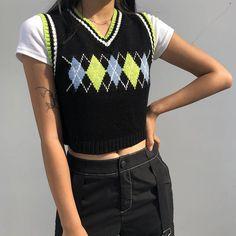 Sweater Vest Outfit, Argyle Sweater Vest, Vest Outfits, Indie Outfits, Knit Vest, Trendy Outfits, Fashion Outfits, Green Sweater, Girly Outfits