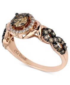 Le Vian Chocolate and White Diamond Ring (9/10 ct. t.w.) in 14k Rose Gold - Jewelry & Watches - Macy's