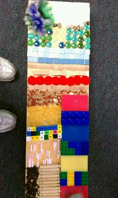 A sensory board I made for one of my student who gets a lot of sensory impute through his feet. He loved walking on it!