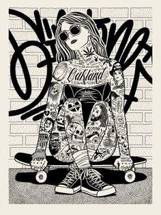 Skater Girl/ awesome print