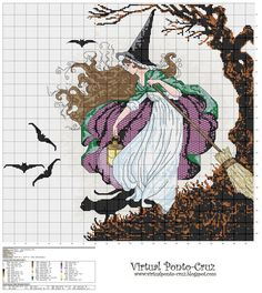 witch cross stitch based on Ida Rentoul-Thwaite watercolor                                                                                                                                                                                 More