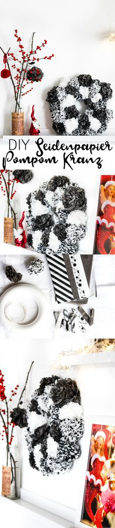 DIY Pompom Kranz | Pompoms selber machen | Weihnachtsdeko | Kranz