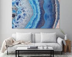 Mineral Photography - (Print Blue Lace Agate Slice - Fine Art Print - Two Paper Choices- Mineral Geode Agate Crystal Decor Blue Things blue color room meaning Decoration Inspiration, Painting Inspiration, Crystal Decor, Trendy Home, Resin Art, Rock Art, House Painting, Fine Art Prints, Wall Art