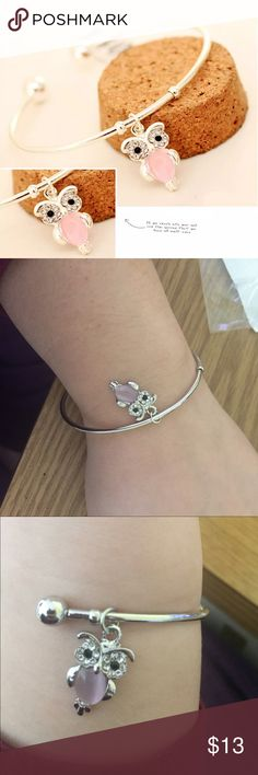 🌸TWO LEFT! FREE with $40 purchase! Silver owl bangle. Buy as is or get it free with a $40 purchase! While supplies last! Jewelry Bracelets
