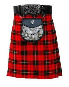 Wallace Tartan Kilt, handmade kilts are built to last and will withstand any manly task you put them up to. The style is traditional with added functionality Scottish Kilts, Scottish Tartans, Tactical Kilt, Sport Kilt, Wallace Tartan, Leather Kilt, Real Leather, Kilts For Sale, Modern Kilts