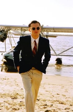 Still of Leonardo DiCaprio in The Aviator.  In this shot, filming was taking place at Ventura Harbor.