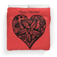 Valentine Heart 4 -  Happy Valentine duvet cover and a range of other valentine gift items at http://www.redbubble.com/people/heatherian/works/13776681-valentine-heart-4-happy-valentine