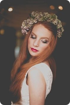 Match your flower hair wreath with the style of make up. Love the colour of hair