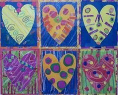 Pop art collaged heart using painted papers.