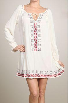 Tea & Cup Boho Embroidered Mini Dress #TeaCup #Blouson