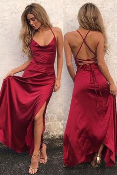 Simple A-Line Halter Burgundy CrisCross Long Prom Dress with Split Front Red Silk Dress Looks You Need To Try This Valentine's Day Straps Prom Dresses, Grad Dresses, Satin Dresses, Homecoming Dresses, Sexy Dresses, Evening Dresses, Party Dresses, Red Ball Dresses, Prom Dresses Spaghetti Strap